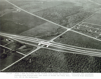 Texas- This is a part of the 55-mile loop around San Antonio.  I-410 overpasses Southton Road (foreground) just south of Brooks Air Force Base. Southton Road intersects US 181 in the background.