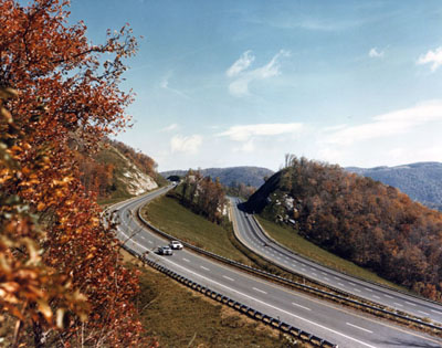 Virginia- Interstate 77 in Virginia was built in many sections as two individual roadways to avoid disturbing the natural landscape.