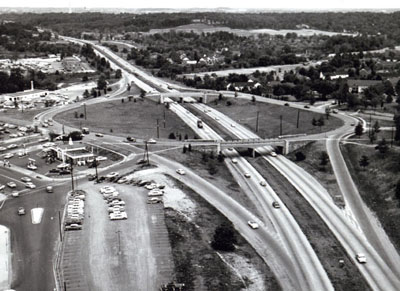 Interstate 95, The Shirley Highway at the Shirlington bridged rotary.  It is being widened to eight lanes with reversible roadways.  The first facility of its kind to be built as a reconstruction of an existing freeway.