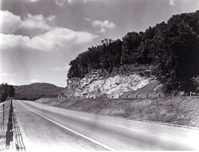 Interstate Route 91 in southern Vermont was designed to blend with the scenery.  Here one roadway, skirting a picturesque ledge, is at a higher elevation than the other.