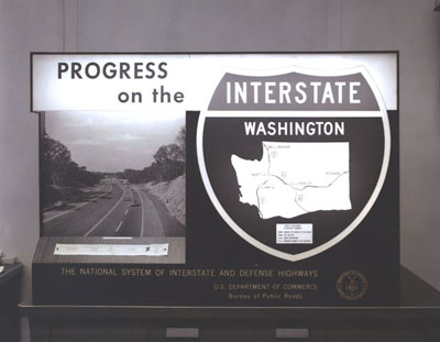 Washington - Exhibit featuring Washington State's segments of the National System of Interstate and Defense Highways (I-5,I-90, and I-82) at the U.S. Bureau of Public Roads.