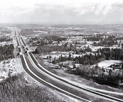 Interstate 5 in Washington has cut travel time between Seattle and Everett by 30 percent. (Construction incomplete when photographed)