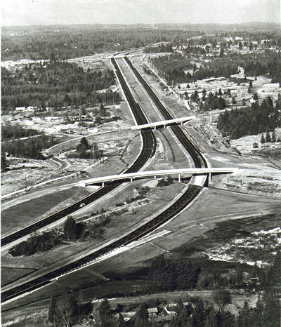 Washington- Seattle Freeway, Looking north-- Swamp Creek Interchange near Lynnwood.