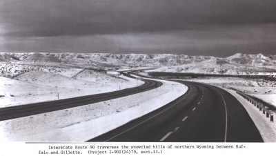 Wyoming - Interstate Route 90 traverses the snowclad hills of northern Wyoming between Buffalo and Gillette.  (Project I-902(42)79, dect.II)