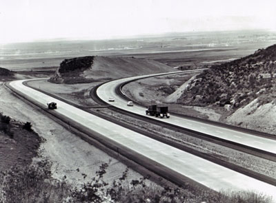 Interstate Route 80 a few miles east of Laramie, Wyo., was designed with independent roadways to overcome economically the difficult topography.