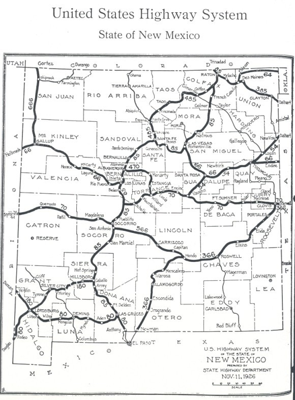 new mexico map from new mexico highway journal march 1927 new mexico s u s