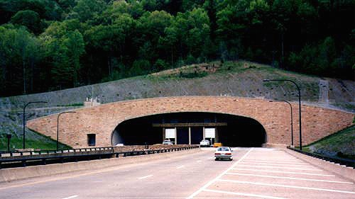The Cumberland Gap Tunnel. This is the Tennessee portal where you can see the viaduct approach to the tunnel. Photo by H.B. Elkins.