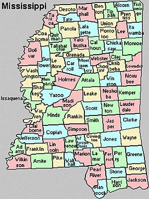 map of mississippi counties with names The Evolution Of Mississippi Highways Back In Time General map of mississippi counties with names