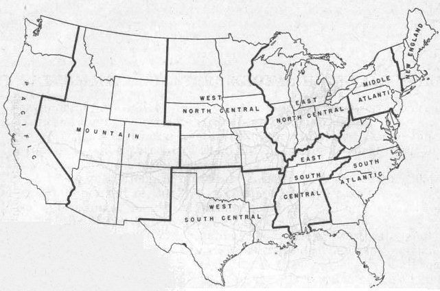 Us Region Map Outline United States Map With Regions Outlined