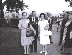 At Monticello, Thomas Jefferson landmark home in Virginia, Lady Bird Johnson (right) posed with Federal Highway Administrator Rex Whitton and his wife Callie Maud.