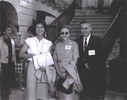Federal Highway Administrator Rex Whitton and his wife, Callie Maud (center), pose with Mrs. Mary Connor, wife of Secretary of Commerce John T. Connor, at the White House before the Landscape-Landmark Tour.