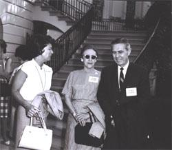 (Left to right) Mrs. Mary Connor, wife of Secretary of Commerce John T. Connor, Mrs. Callie Maud Whitton, Federal Highway Administrator Rex Whitton at the White House before the Landscape-Landmark Tour.