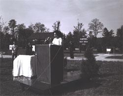 "Lady Bird Johnson, speaking to participants in the Landscape-Landmark Tour and observers at the Dumfries Wayside Shelter on I-95 in northern Virginia, said, ""No one can drive this scenic highway without feeling a deep sense of gratitude for such a lush, green land, and a rush of pride in man's increasing determination to keep it within eyesight of the motorist."""