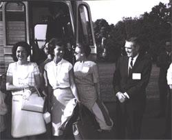 (Left to right) Mrs. Lady Bird Johnson, Mrs. Mary Connor (wife of Secretary of Commerce John T. Connor), Mrs. Callie Maud Whitton, and Federal Highway Administrator Rex Whitton before boarding the bus for the Landscape-Landmark Tour.