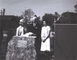 Following the unveiling of a plaque at the dedication of the I-95 Dumfries Wayside Shelter, Muriel Humphrey, wife of Vice President Hubert H. Humphrey, joins Governor Albertis Harrison and Lady Bird Johnson.