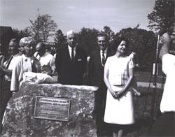 Posing for ceremonial photographers following dedication of the I-95 Dumfries Wayside Shelter in Virginia are Mrs. Muriel Humphrey, wife of Vice President Hubert H. Humphrey, Governor Albertis Harrison, Federal Highway Administrator Rex Whitton, and Lady Bird Johnson.