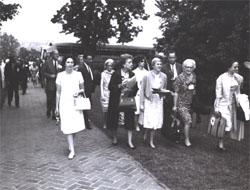 Lady Bird Johnson on the walk leading to Monticello, home of Thomas Jefferson.