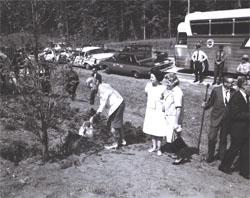 Lady Bird Johnson and an unidentified woman look on as Muriel Humphrey, wife of Vice President Hubert Humphrey shovels dirt around a dogwood tree planted along I-95 in Virginia.