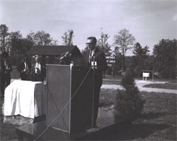 "During dedication of the Dumfries Wayside Shelter, Federal Highway Administrator Rex Whitton introduced Lady Bird Johnson, calling her the ""inspiration"" for President Lyndon Johnson's America the Beautiful campaign."