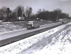 Truck traffic uses a rest area pull-off on I-95 in Virginia.