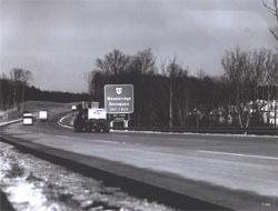 A curve on I-95 approaching the exit for Woodbridge, Virginia.