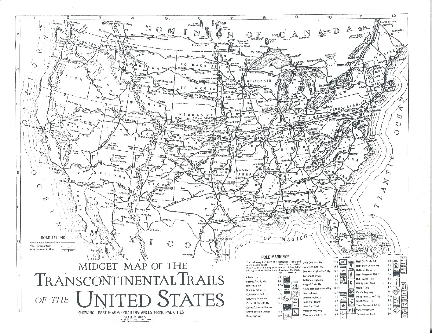 Map Of The Transcontinental Trails Of The Usa 1923 General