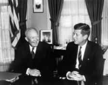 After the November 1960 election, President Eisenhower had a cordial meeting with his successor, Senator John F. Kennedy (D-Ma.), in the White House. Click on photo for larger version.