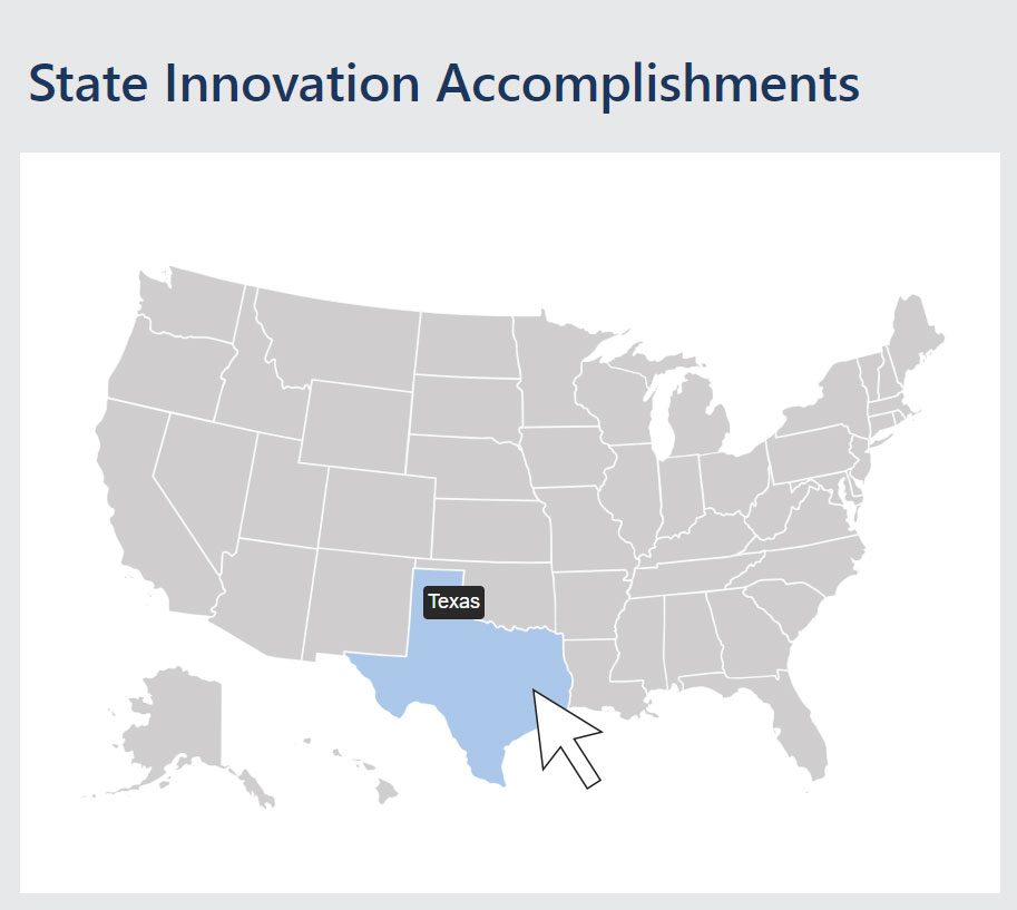State Innovation Accomplishments Map with arrow linking to web page. Click image to go to STIC website.