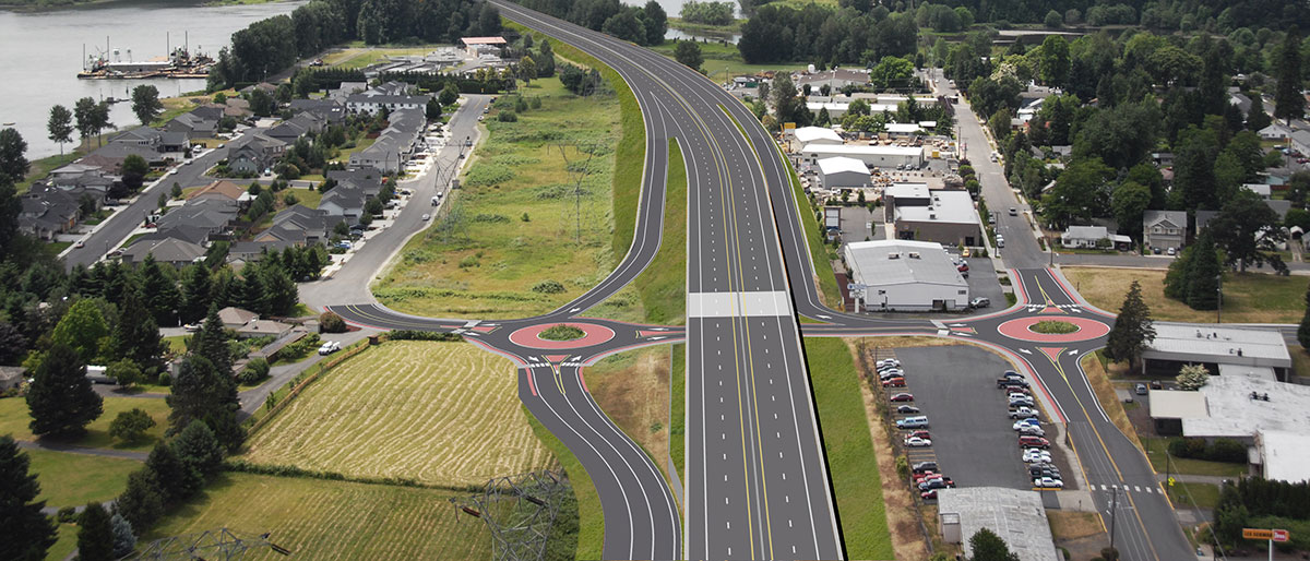 Visualization illustrates proposed roundabout project.