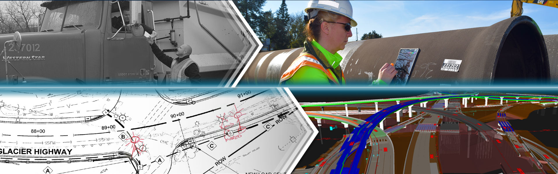 Photo and illustration montage of a delivery truck, a worker using a tablet at a jobsite, a digital map of a highway, and a 3D visualization of a highway.