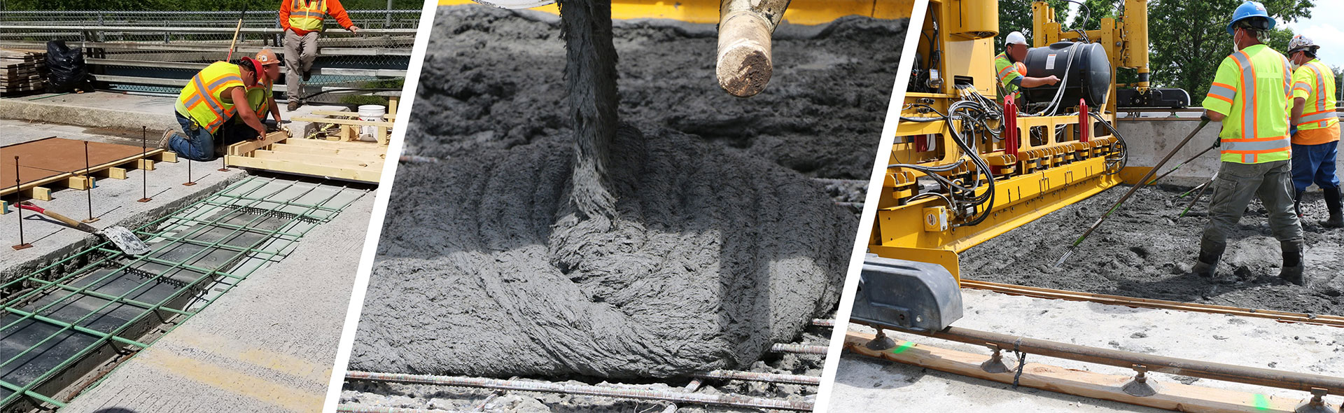 Three photos of workers pouring ultra-high performance concrete.
