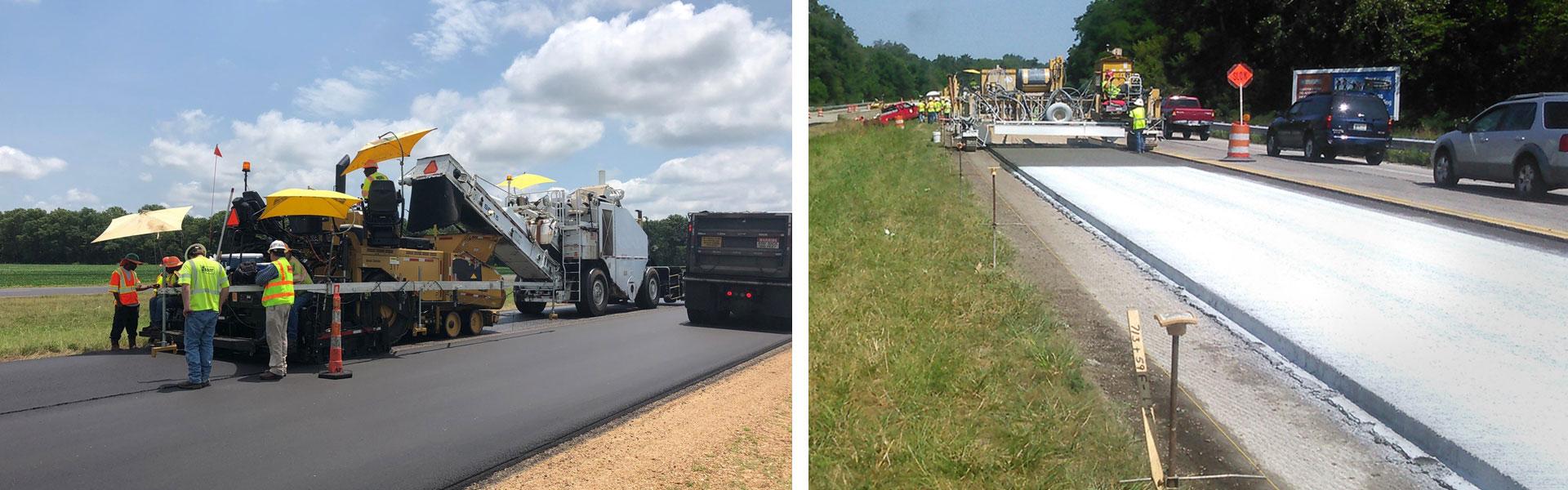 Photo on left of asphalt paving jobsite. Photo on right of concrete paving jobsite.