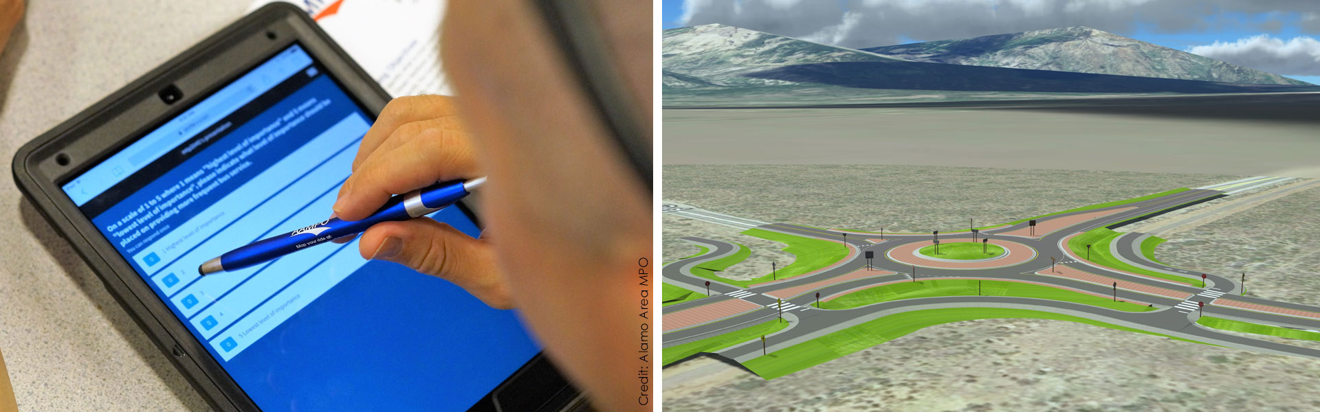 Photo on left of person using a tablet. Visualization of a roundabout on right.