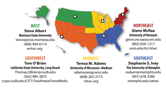 FHWA Region Transportation Workforce Centers Map
