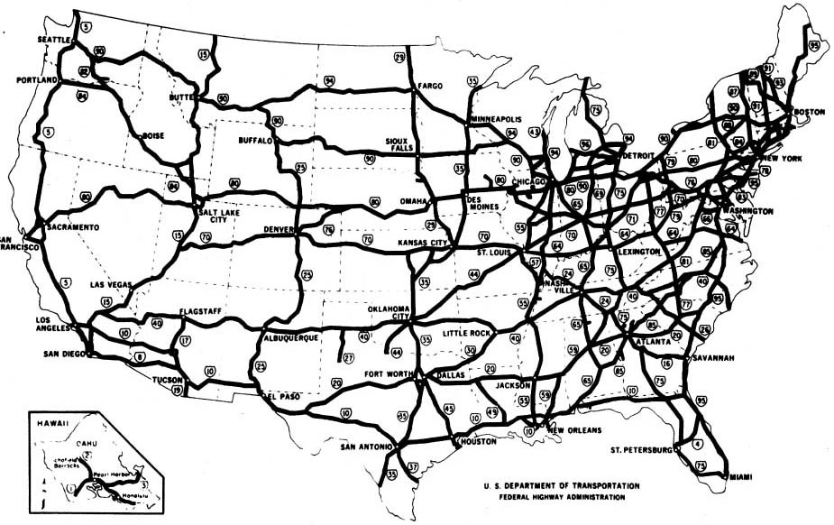 The Dwight D Eisenhower System Of Interstate And Defense Highways - Map-of-the-us-interstate-system