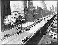 Illustration shows automobiles on an elevated roadway within a modern city.