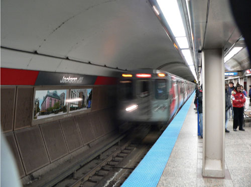 Picture of Chicago Transit subway in motion.