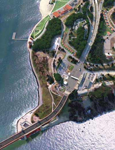 Photo. Daytime overhead view of the Presidio Parkway.