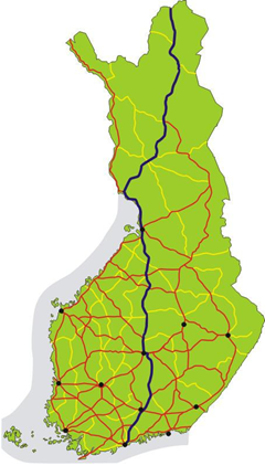 Map of Highway 4 (VT4 Järvenpää-Lahti) - Finland area