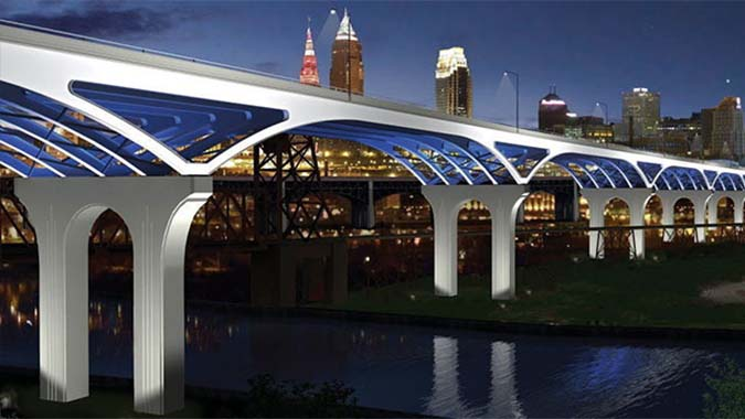 Eastbound George V. Voinovich Bridge - Cleveland, Ohio