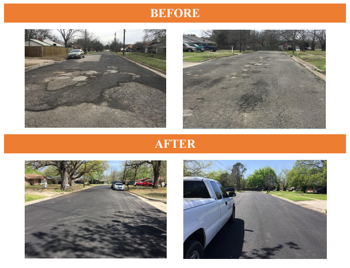An example of Type D asphalt overlay before and after in the City of Sulphur Springs via the Street Improvement Fund Report.