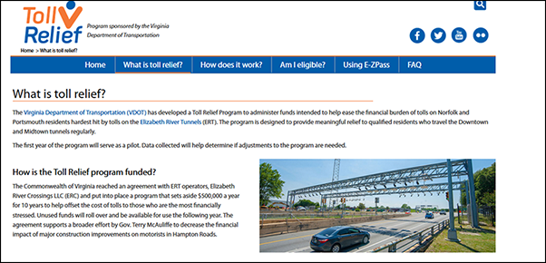 Toll relief sample web page