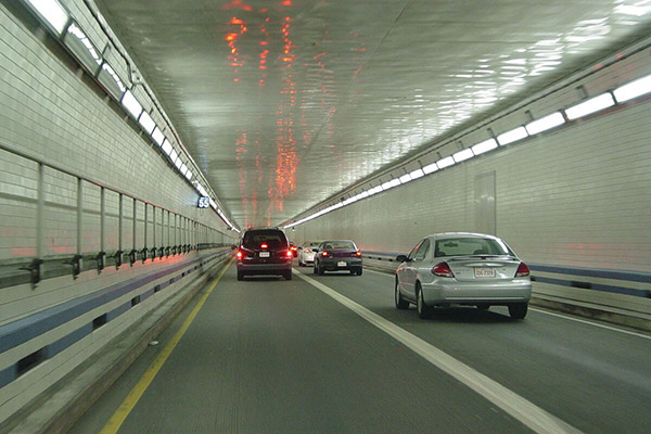 Vehicles in a tunnel