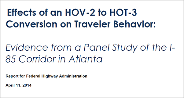 report cover - Evidence from a Panel Study of the I-85 Corridor in Atlanta