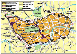 Map of London's congestion zone