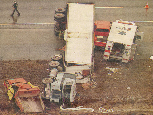 Photo of transport truck after a crash