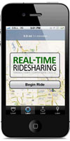 Image of cell phone with Real-Time Ridesharing map displayed
