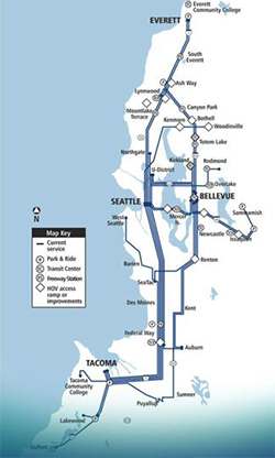 ST Express Regional Bus and transit projects map