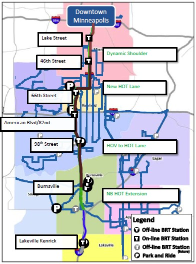 I-35W BRT overview map