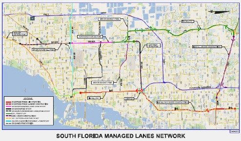 Map of South Florida Managed Lanes Network